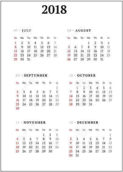 six months calendar free printable word excel pdf office