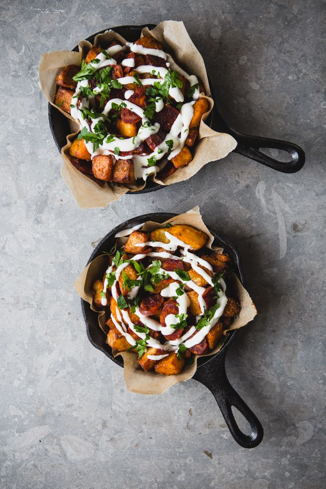 Potatoes Bravas With Chorizo, Fried Eggs and Garlic Aioli | The Modern Proper