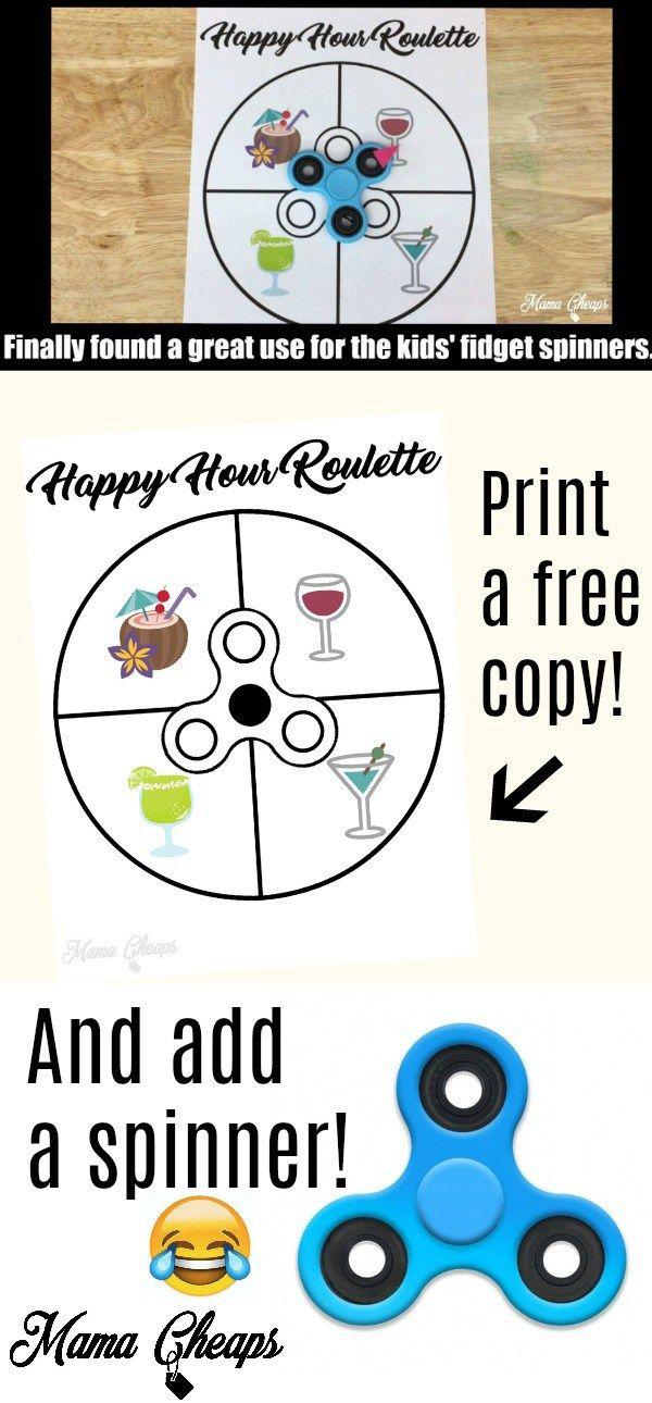 Fidget Spinner Printable – Happy Hour Roulette!  FUNNY!!
