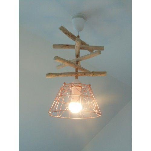 Lustre suspension plafonnier en bois flott et rose - Lustre bois flotte ...