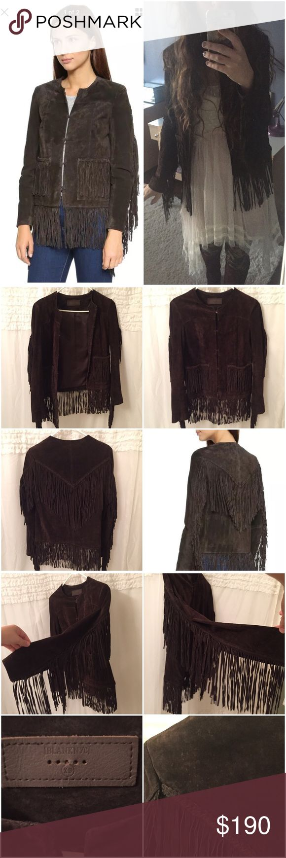 Blank NYC gypsy fringe suede jacket Suede fringe tassel jacket. Dark Chocolate brown color. Clasp closure on front. Sz Xs. Brand is blank nyc. Looks similar to the suede jackets sold at free people. Not from free people tagged b/c there's no blanknyc under brands. Purchased at south moon under last year. Some small spots on the shoulder, see photos, may be able to use suede cleaner to get them out. Worn once. Paid over $200. No trades Free People Jackets & Coats
