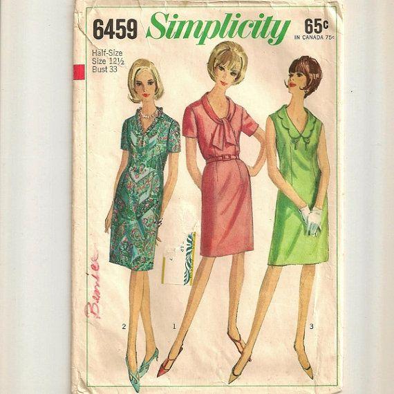 1966 Dress Pattern  Size 121/2 Bust 33 by SkeeterBitz on Etsy, $2.00: Dress Patterns, 121 2 Bust, Dresses Pattern, Bust 33, 1966 Dresses, Pattern Size, Size 121 2