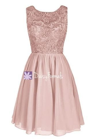 Short Vintage Chiffon Bridal Party Dress Online Vintage Zinnwaldite Lace Formal Dress (BM2529) – DaisyFormals-Bridesmaid and Formal Dresses in 59+ Colors