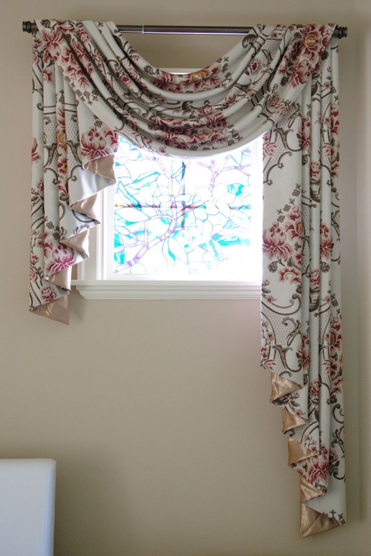 Small Window With Floral Scarf Valance Scarf
