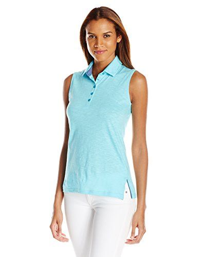 Special Offer: $22.50 amazon.com Solid cotton slub sleeveless collared button polo golf shirtSuper soft fabricStrategically fitted armhole to cover bra straps