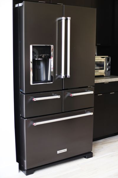 17 best images about black stainless steel on pinterest for Chocolate kitchen cabinets with stainless steel appliances