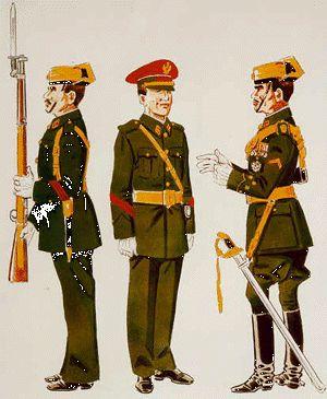 Cabo 2º con Uniforme de Gala en formación (1943 – 73) Cabo 2º de Conductores con Uniforme de Gala para Paseo (1943 – 73) Capitán con Uniforme de Gala en formación (1943 – 58)