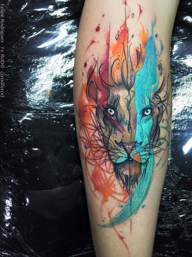 Tatuagem de aquarela, LEÃO Watercolor tattoo Felipe Rodrigues leão