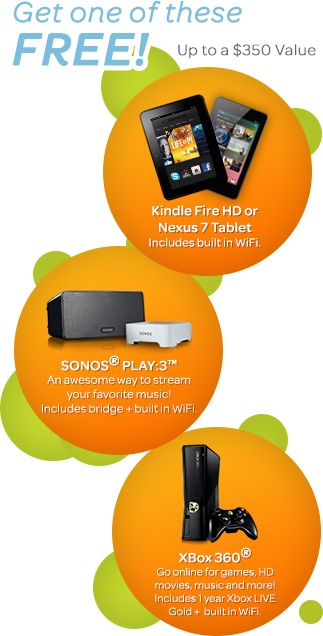 Special Offer: Read, Rock or Play with a FREE Kindle Fire HD, Nexus 7 Tablet, Sonos® Play:3™, or Xbox® 360 when you bundle ATT Services! Follow the link to learn more.