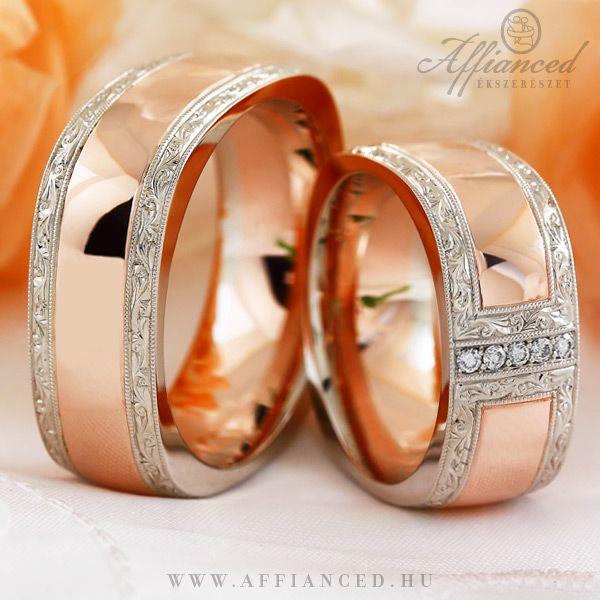 Barocco Cube karikagyűrűk - rozé és fehér arany jegygyűrű pár briliánsokkal díszítve. http://www.affianced.hu/