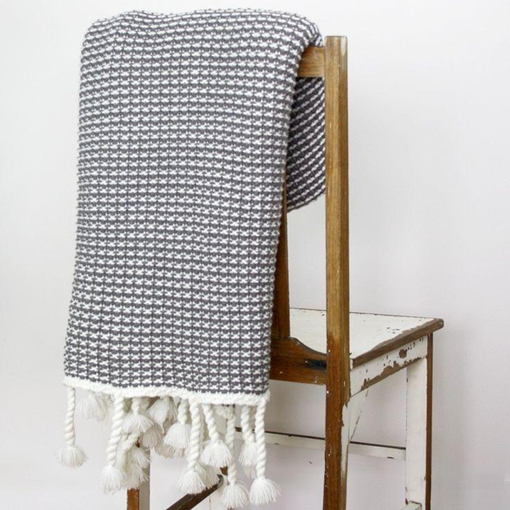NEW Waffle Knit Throw - Grey, Light Summer Weight