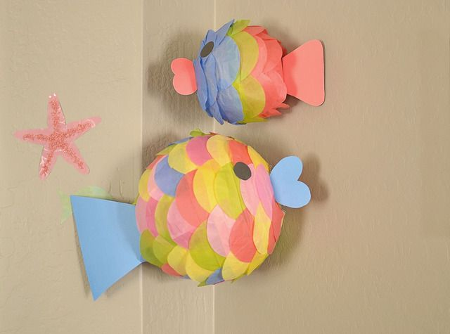 Fish ~ paper lanterns covered in tissue paper circles... cute!
