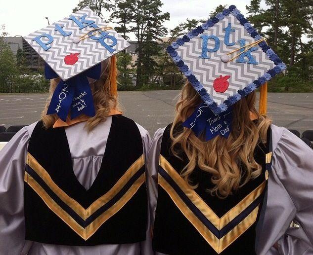 Graduation caps. Phi Theta Kappa honor society. PTK. Apple for elementary education.