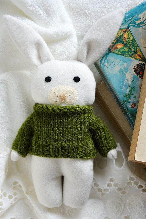 Fern bunny stuffed toy animal soft toy white bunny by Fernlike