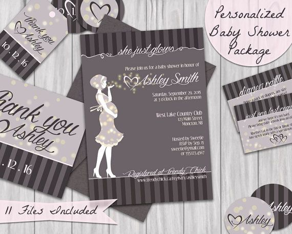 """""""She Just Glows"""" Custom Baby Shower Invitation Package."""
