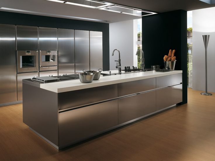 Italian Stainless Steel Kitchen Cabinet Design From Elektra Ernestomeda Ideas With Modern Black Cabinets And Chandelier
