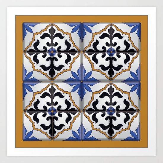 Collect your choice of gallery quality Giclée, or fine art prints custom trimmed by hand in a variety of sizes with a white border for framing. Shop it here! https://society6.com/product/spanish-tile-e50_print?curator=wellglow