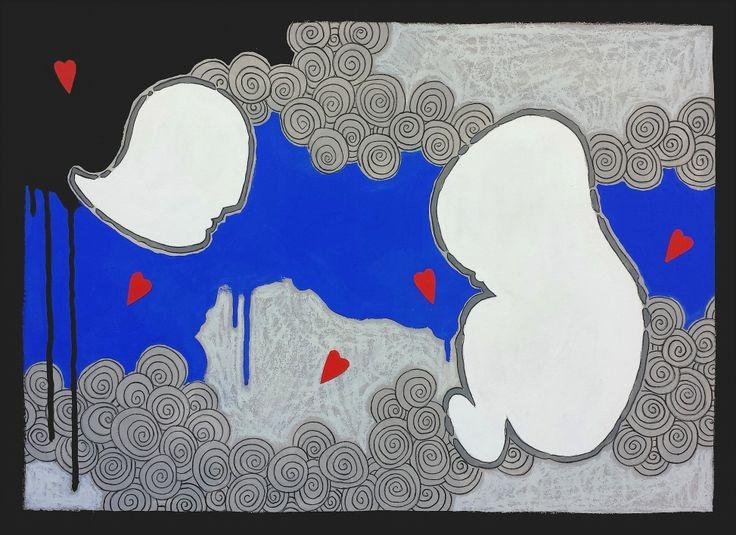 """andrea mattiello """"Incontro"""" acrilico, grafite e collage su cartone vegetale cm 51,5x36; 2013 #andreamattiello #contemporaryart #artecontemporanea #artist #artistaemergente #collage #cardboard"""
