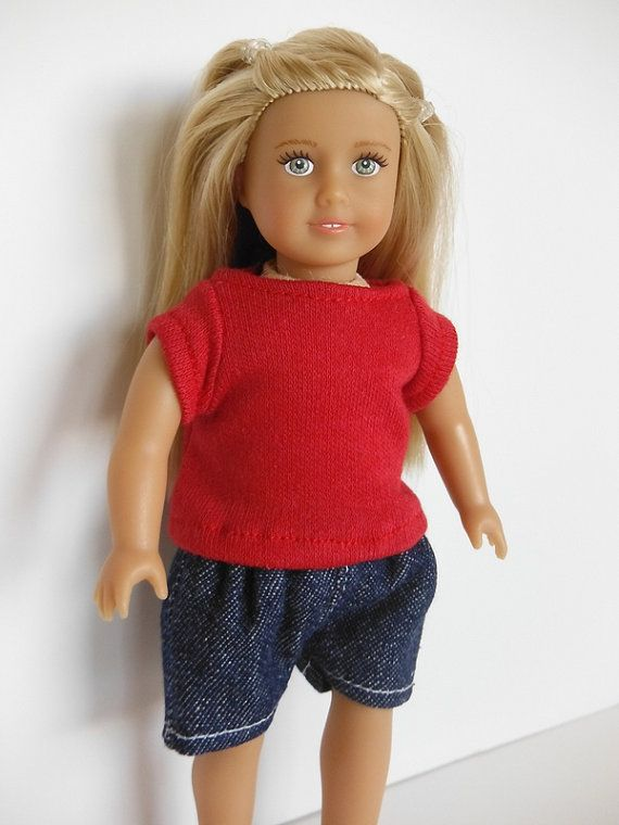 Shorts to fit the Mini 6 1/2 inch American Girl Doll. Shorts have an elastic weight and are sewn with a light weight denim.  Sewn in a smoke free
