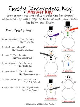 SNOWMAN DICHOTOMOUS KEY - TeachersPayTeachers.com