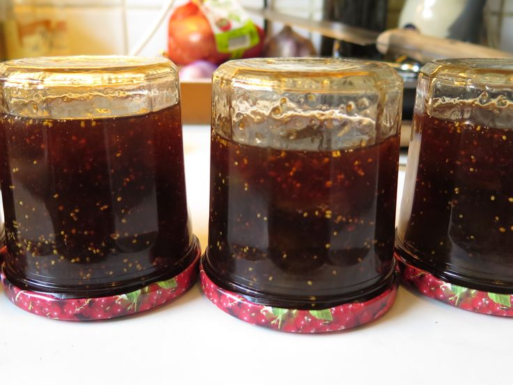 Pour jam immediately into sterilised, warmed jars, close lids and turn upside down to self pasteurise; turn upright after approximately ten minutes and allow to cool
