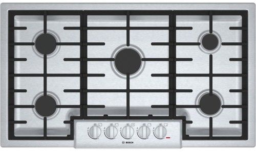 Bosch NGM8655UC 36 Inch Gas Cooktop with 5 Sealed Burners, 18,000 BTU Burner, Cast Iron Continuous Grates, Heavy-Duty Metal Knobs, Centralized Controls and Low-Profile Design: Stainless Steel