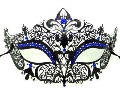 Royal Blue Masquerade Masks | Metal Filigree Crown Masquerade Mask with Blue Crystals
