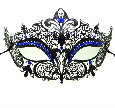 Royal Blue Masquerade Masks | Metal Filigree Crown Masquerade Mask with Blue Crystals