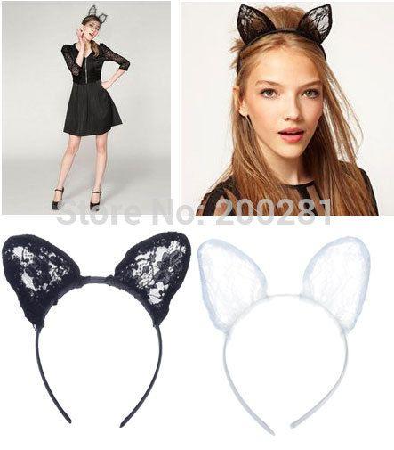 Новинка кружево кошачьи уши повязка на голову для женщин белый / черный косплей маскарадный костюм сексуальное черный / кошачьи уши Hairband костюм ну вечеринку