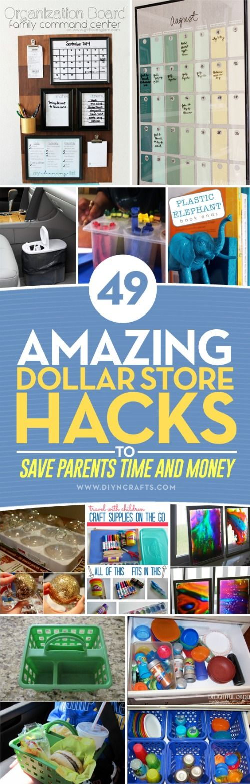 49 Amazing Dollar Store Hacks To Save Parents Time and Money - The Dollar Store is the best place in the world to find things that can save you time and money. Honestly, I shop there at least a couple times a week, and have found so many useful hacks. I've also found a great list of Dollar Store hacks for you. via @vanessacrafting
