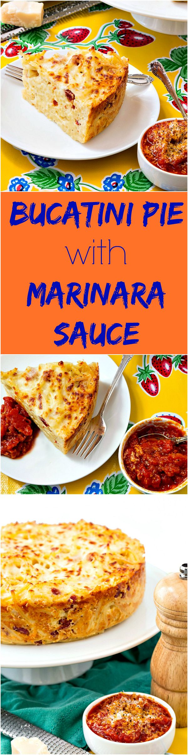 Bucatini Pie with Marinara Sauce for #tbtfood. Italian comfort food at its best! If you love baked macaroni and cheese or spaghetti pie, this bucatini pie recipe is for you! Rich, cheesy and sliceable, spaghetti pie is a great way to stretch pasta to serv