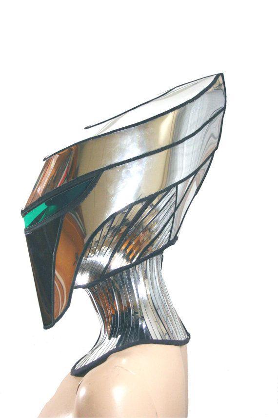 2 piece alien cyborg mask headpiece robot armor sci fi by divamp