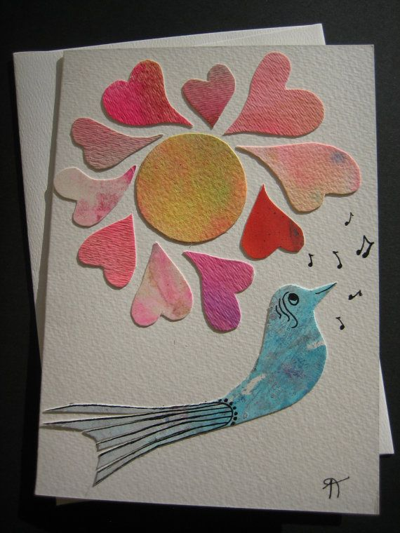 Watercolor card Singing to you a love song bird love by Noukshouk