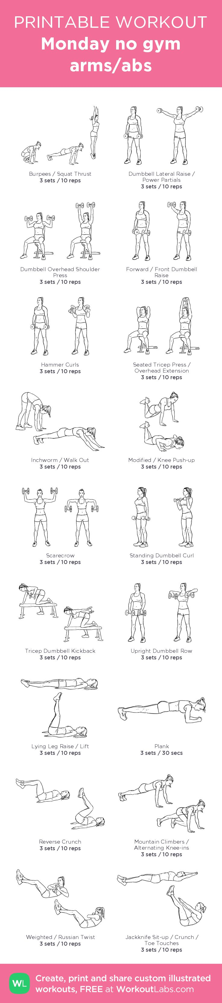 Monday no gym arms/abs– my custom exercise plan created at WorkoutLabs.com • Click through to download as a printable workout PDF #customworkout