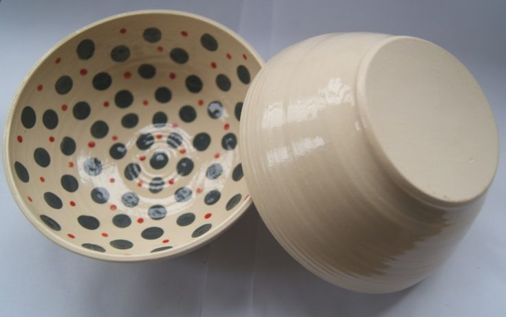 small bowl with grey dots