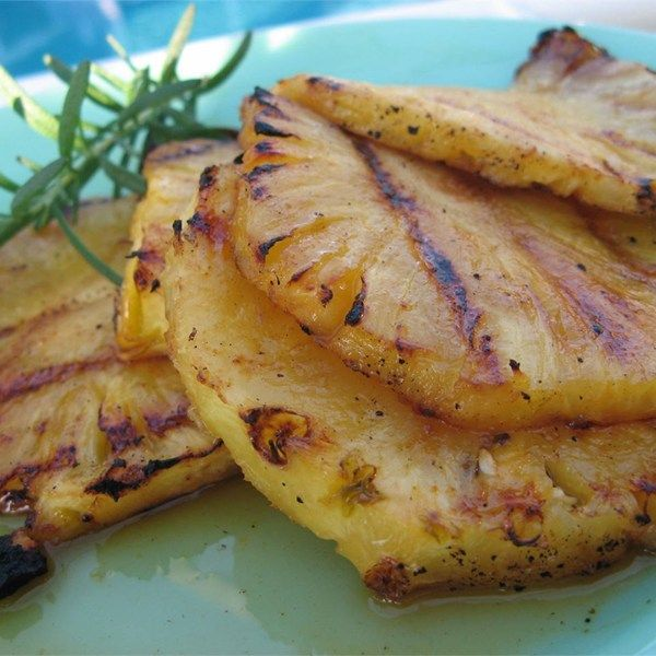 "Grilled Pineapple I ""Super easy, and everyone was gobbling them up. Great recipe to top off a night of bar-b-q!"""