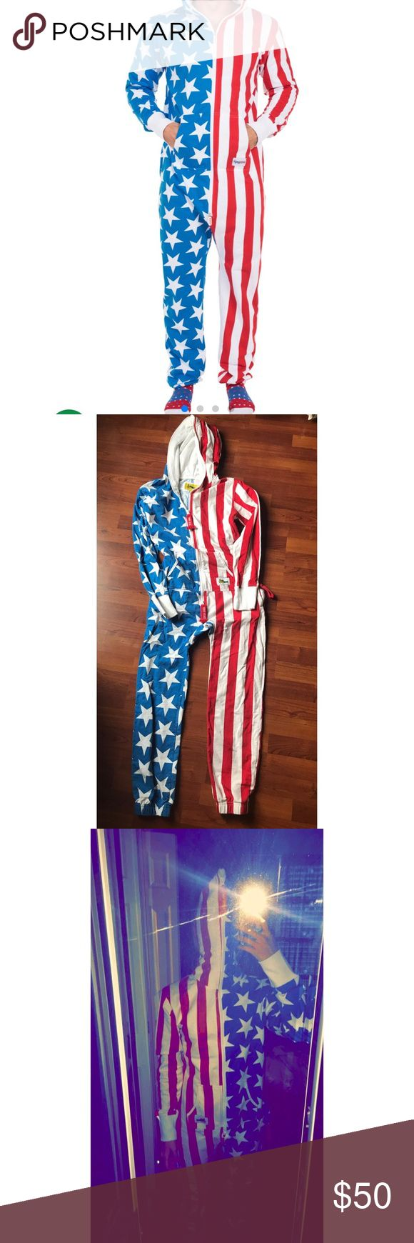 Tipsy Elves American Flag Jumpsuit Size XS, worn twice and has been washed once - in good condition! I'm 5'4 115lbs and this jumpsuit fits great on me! If you have any other questions please don't hesitate to ask!   tags: USA, 4th of July, Red White Blue, American Apparel, Pacsun, Dollskill Tipsy Elves Other