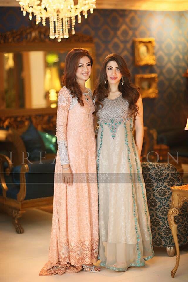 Creamcicle Orange and Grey floor length Pakistani frocks