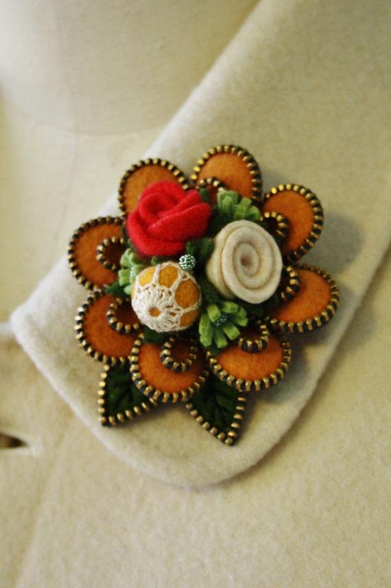 Felt and zipper  flower brooch.. warm yellow