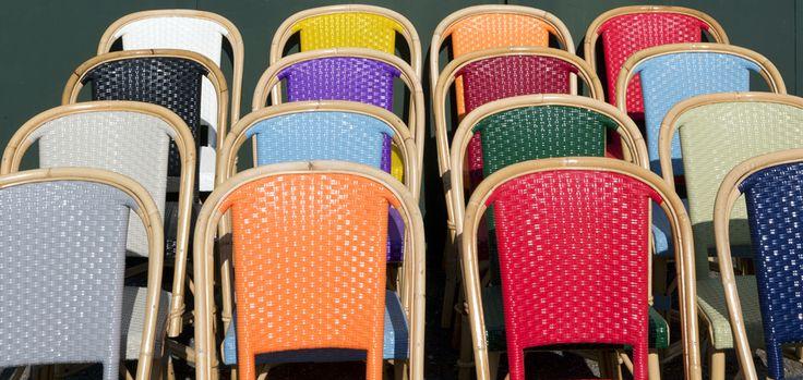 "Drucker's rainbow ""arc-en-ciel"" chairs."