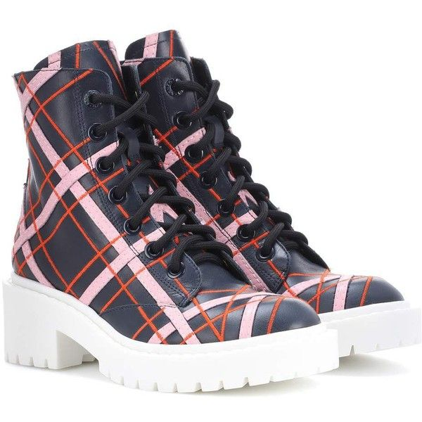 Kenzo Plaid Leather Ankle Boots ($650) ❤ liked on Polyvore featuring shoes, boots, ankle booties, multicoloured, tartan boots, ankle boots, genuine leather boots, multi color boots and short leather boots