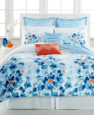 Guest Bedroom: Water Garden Comforter Set. Love the blue with orange accents.