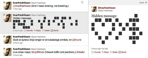 A hidden message inside a tweet …