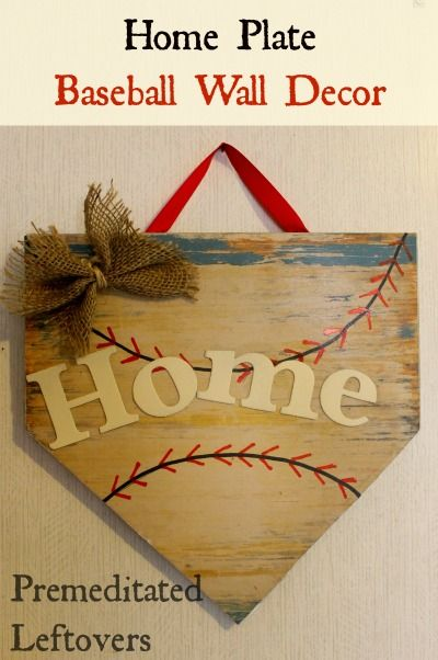 DIY Home Plate Wall Hanging - Does your little boy love baseball? Use this tutorial to make a home plate wall hanging to decorate his room.