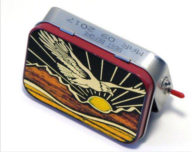 Soaring Eagle Portable Speaker Boombox - Mint Tin Portable Speakers  - Pendleton wool baffle - Gift for Him - Mini Speaker System - MakBuilt