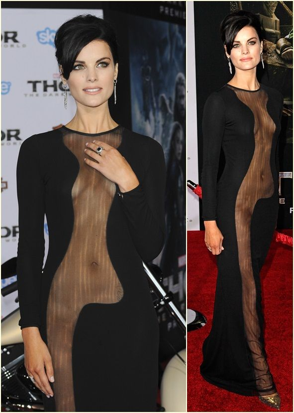 """Did You Notice Jaimie Alexander's Sparkly Stilettos at the """"Thor"""" Premiere? Wow what an awesome culture dress by Azzaro."""