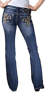 Miss Me® Ladies Gold Leather Embroidered Fleur De Lis w/ Crystals Boot Cut Jean - Extended Sizes