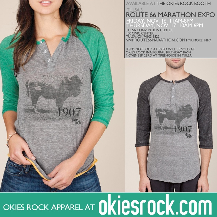 Okies Rock™ Apparel is excited to bring you the UNISEX 3/4 Sleeve Henley, with a nice little Buffalo to say hello to! (Okies Rock, Oklahoma, Apparel, Rumble, Buffalo, Shirt, Tees, Tshirts, Fashion)
