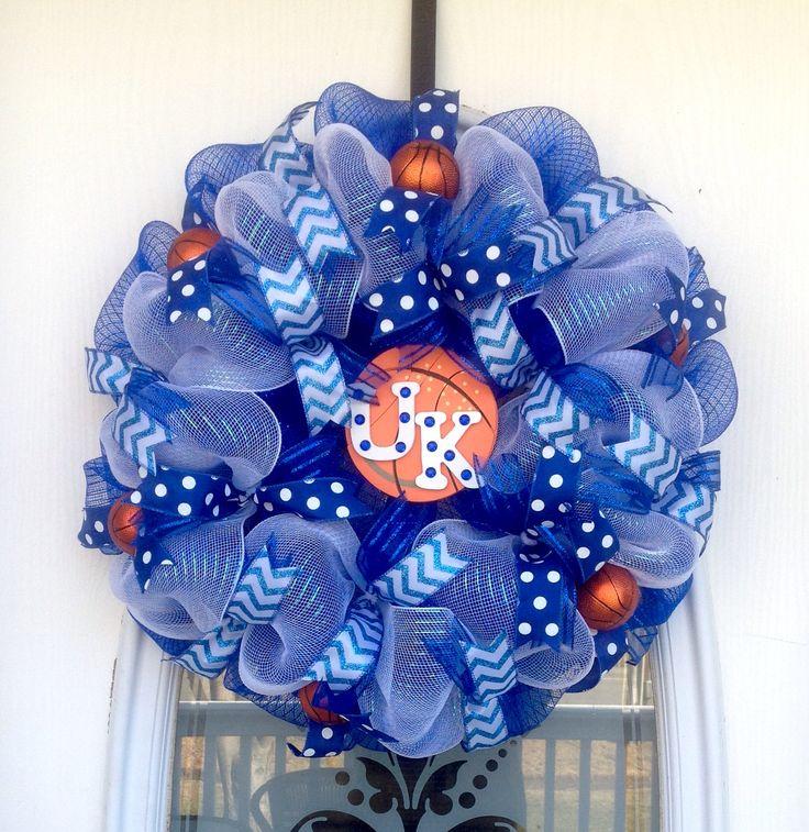 "22"" Royal Blue & White Deco Mesh U of K Basketball Wreath"