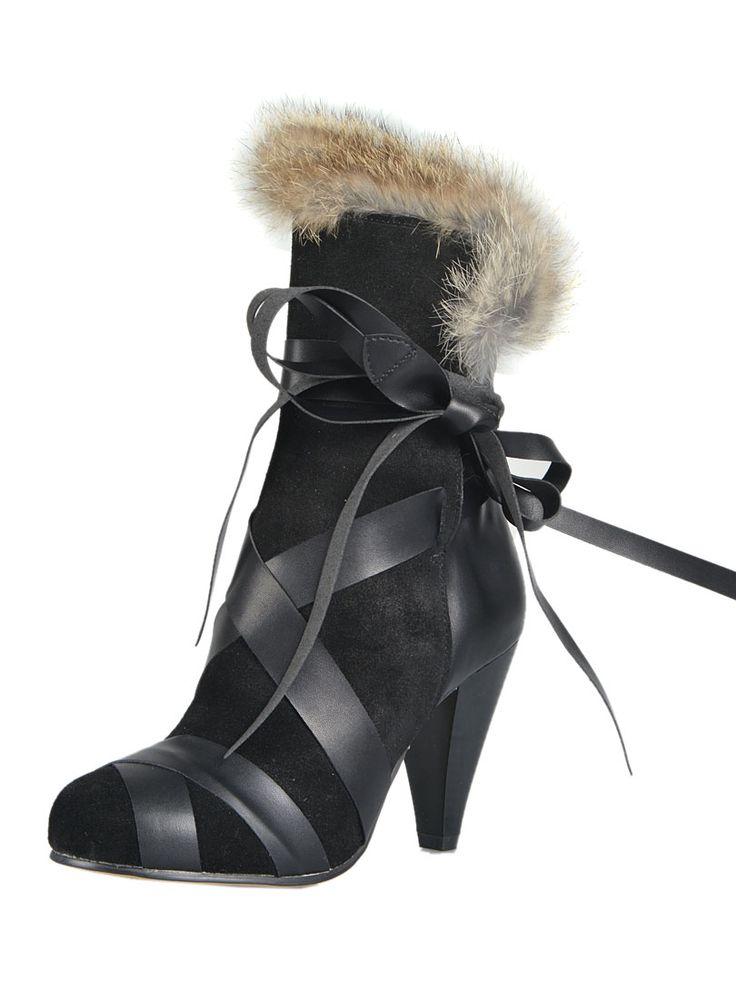 Black Strap Tie Heeled Boots with Fur Trim | Choies